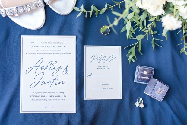elegant and simple blue and white calligraphy invites