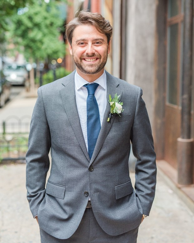 groom in blue and grey
