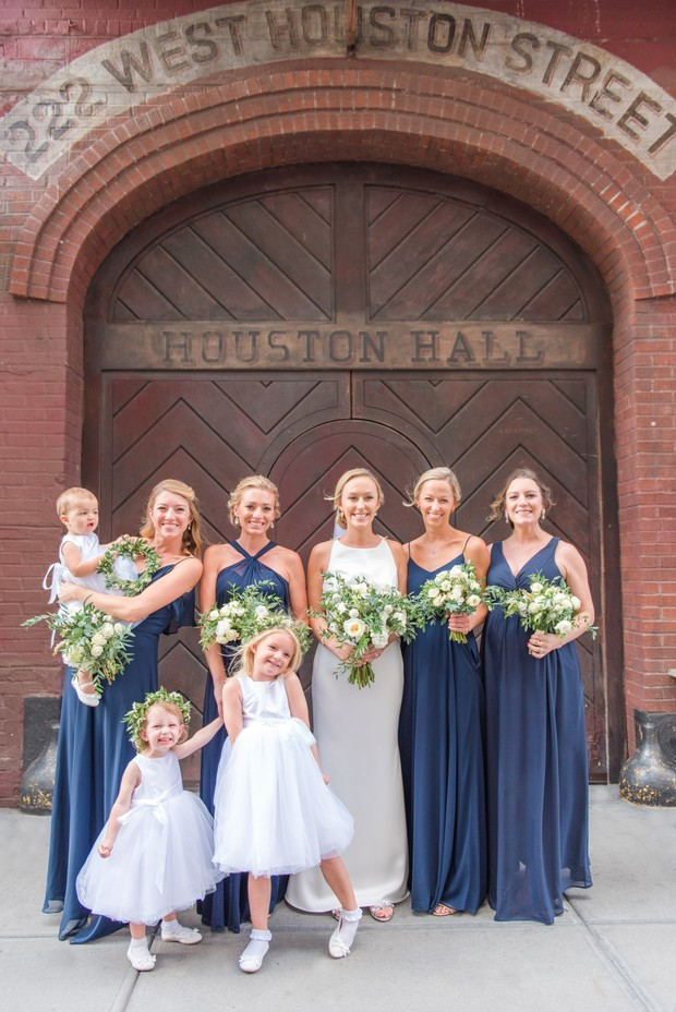 wedding party in blue and white