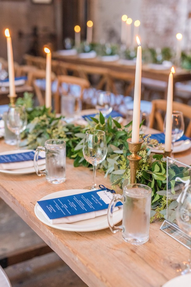 blue and white rustic industrial chic wedding table decor
