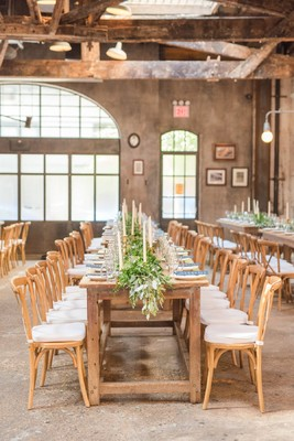 This Blue and White Industrial Chic Wedding Will Brighten Your Day