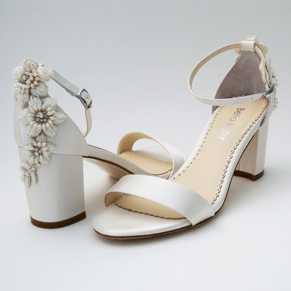 A practical wedding sandal with fashion flair! Perfect for garden & outdoor weddings. Simple sandal on a block heel with ankle