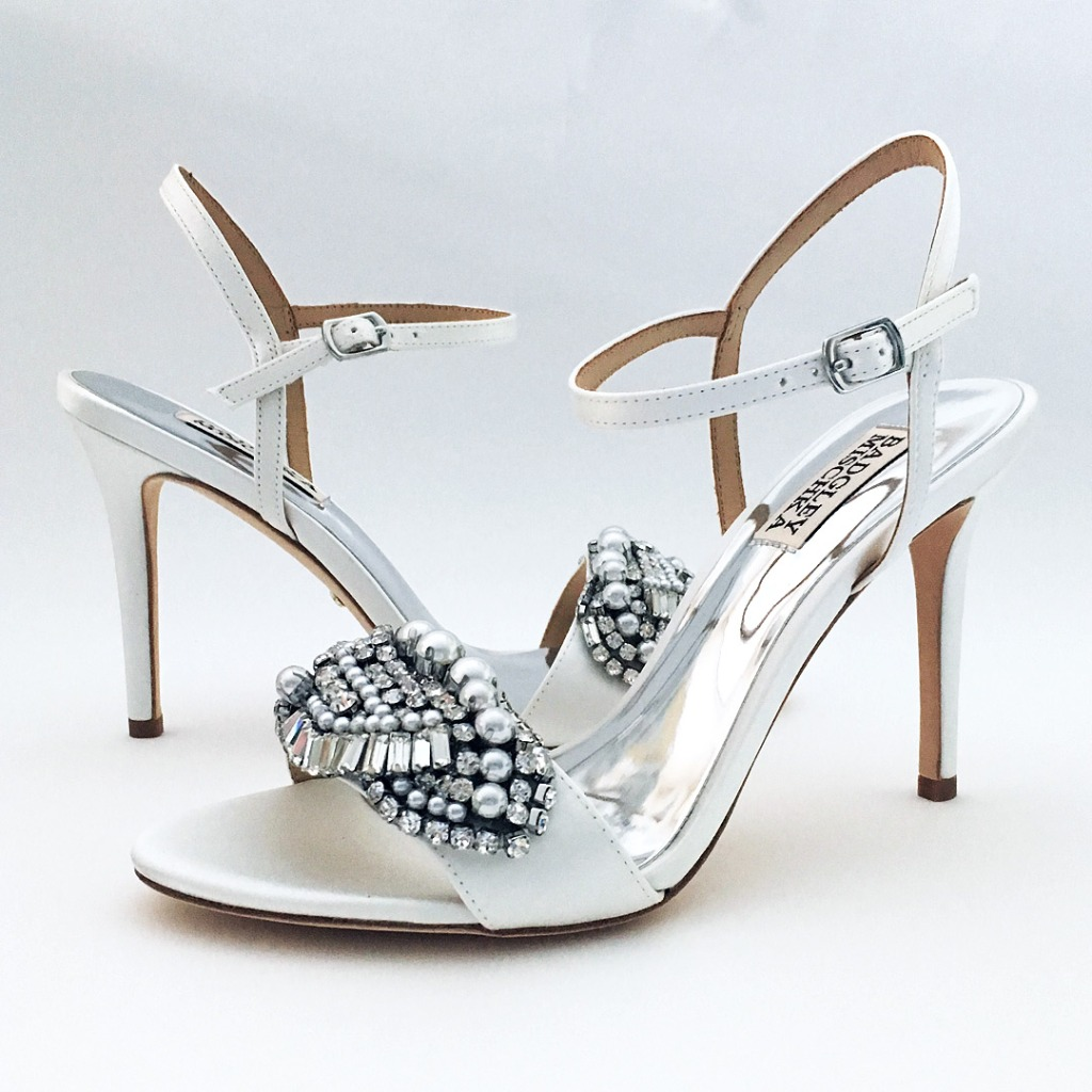 Strappy White silk satin wedding sandals with spectacular ornament at the toe and adjustable ankle strap, 3 3/4 heel, rhinestones