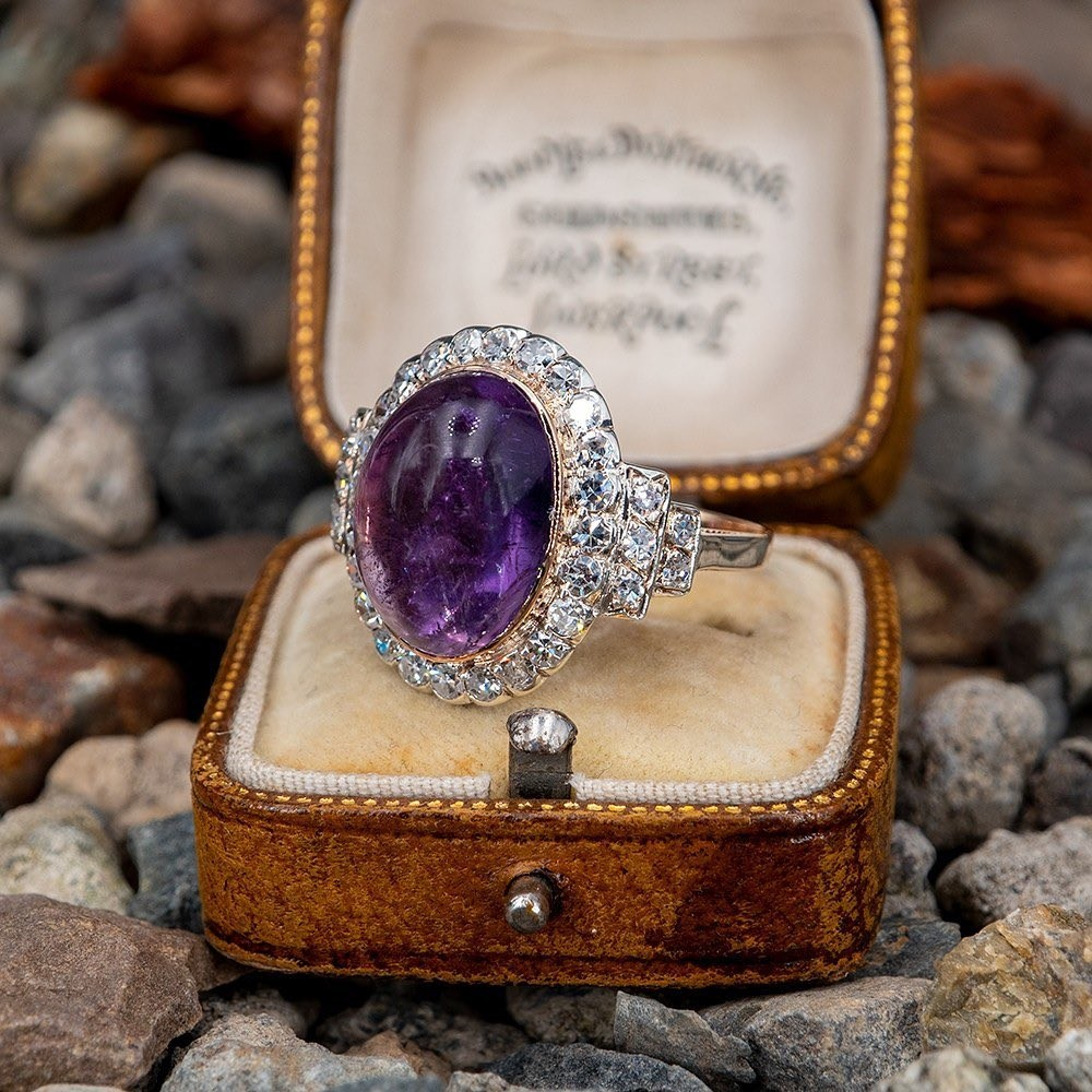 Victorian Amethyst & Single Cut Diamond Ring