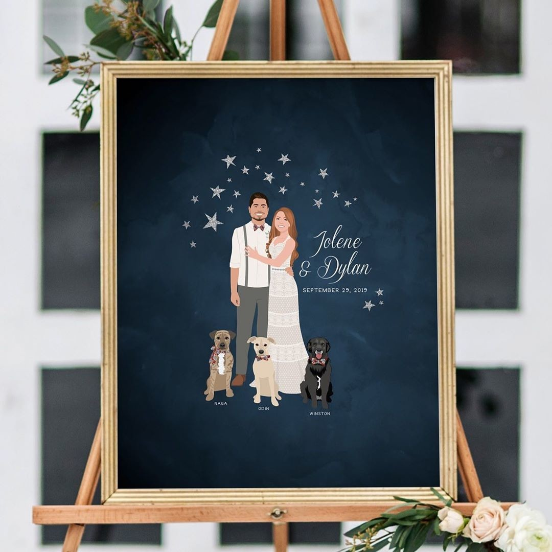 Oh my stars, what a beautiful family! 🤩 Jolene and Dylan wanted to include their fur babies in their starry night design, and we