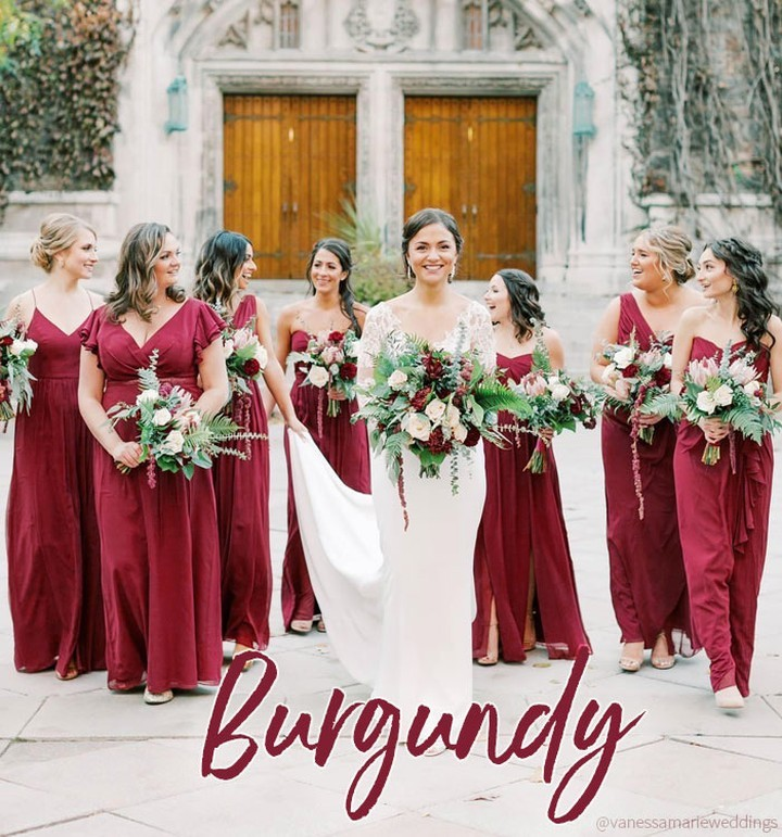 Trending Color: Burgundy - a deep, romantic red. Pair it with peach or pink for a sophisticated autumn affair. Or contrast with sage