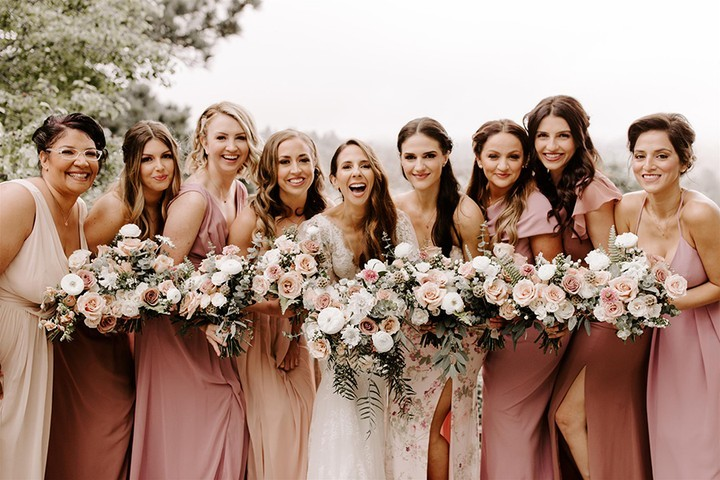 The perfect palette. Dessy Group bridesmaids styles in Blush Garden, Cameo, Dusty Rose, Sienna and Toasted Sugar. 📸 by