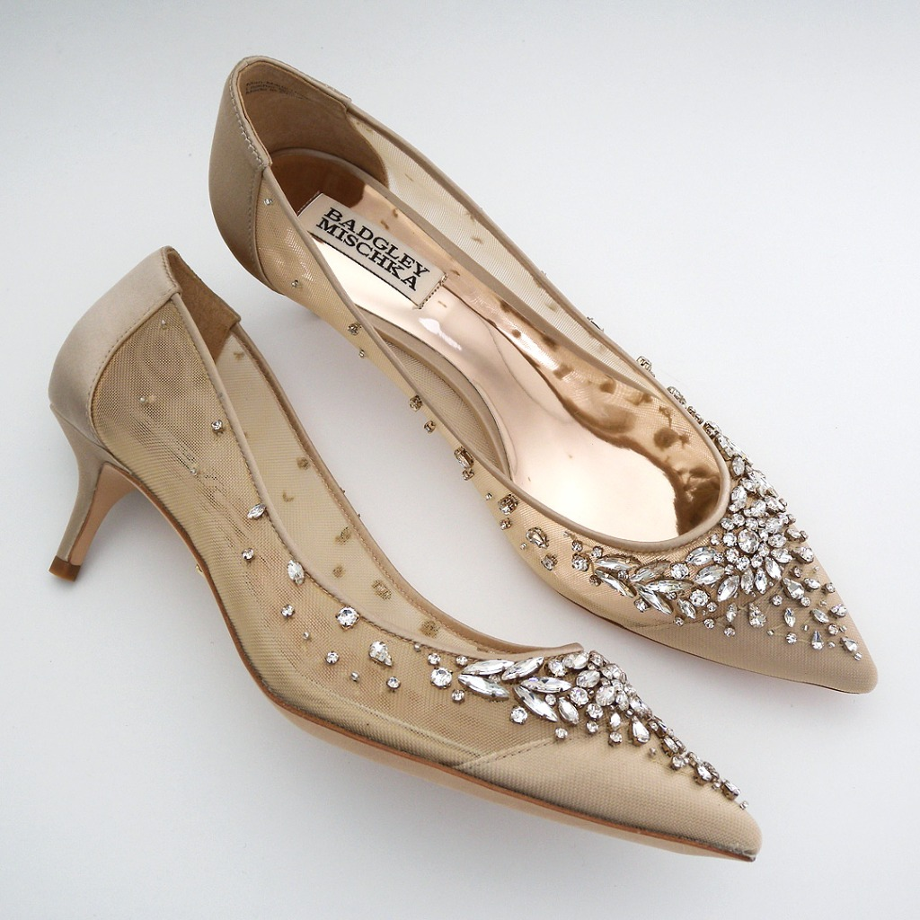 Stunning kitten heel pumps that are stunning for parties & mother of the bride, as well as the bride herself. a starburst of crystals