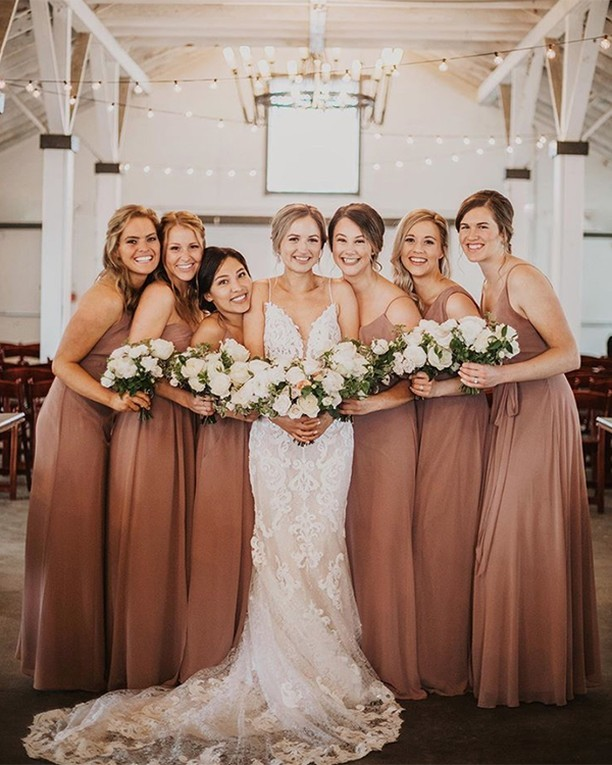 Stunning in Sienna. Love this color on these beautiful Dessy Mix & Match bridesmaids. 💐 by