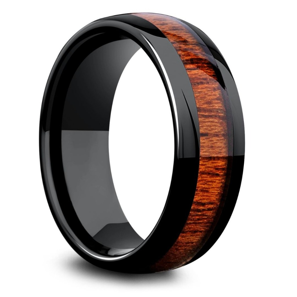 Mens wooden wedding ring! Super durable and super comfy. Inlaid with natural koa wood. Over 36 PLUS wooden rings to pick from. All