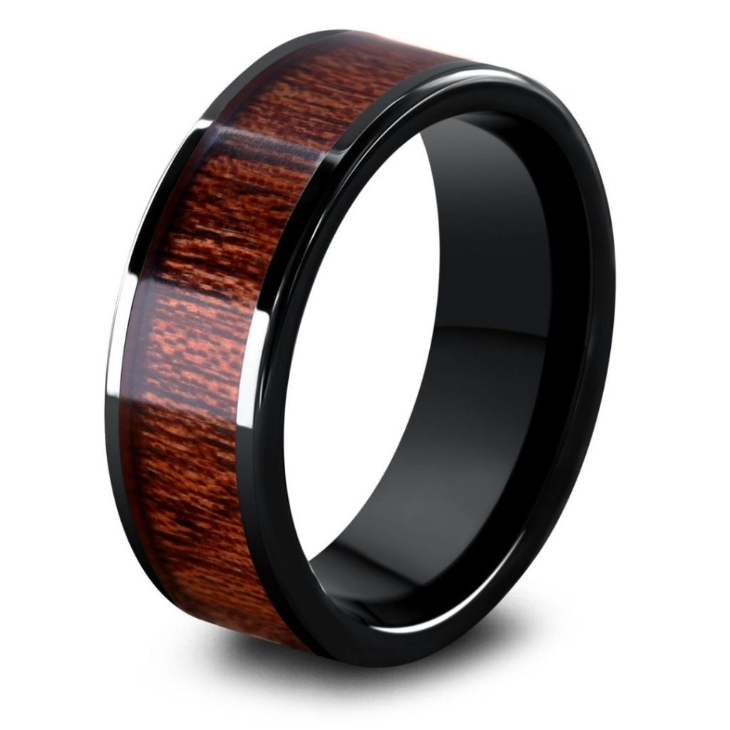 Mens 8mm wooden wedding ring with a flat profile design. Crafted for the outdoorsman. These mens rings truly make a unique wedding