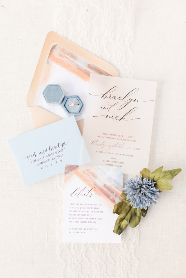 chic desert inspired wedding invitation suite