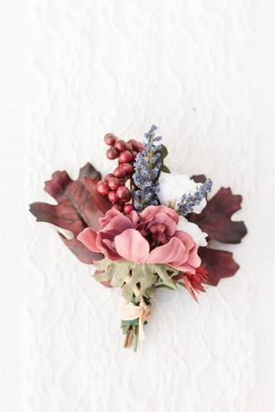 burgundy wedding boutonniere
