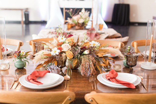 gold and coral wedding table decor