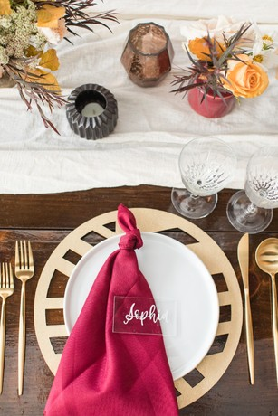 modern gold and burgandy wedding place setting