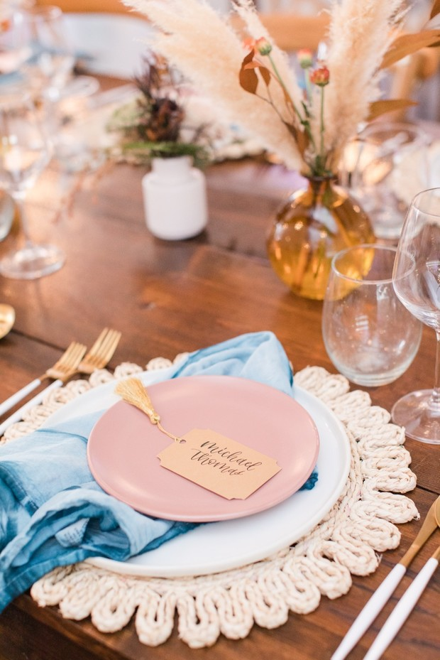 teal and dusty rose wedding place setting