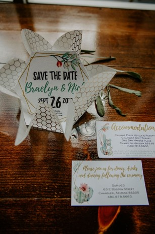 hexagon wedding save the date