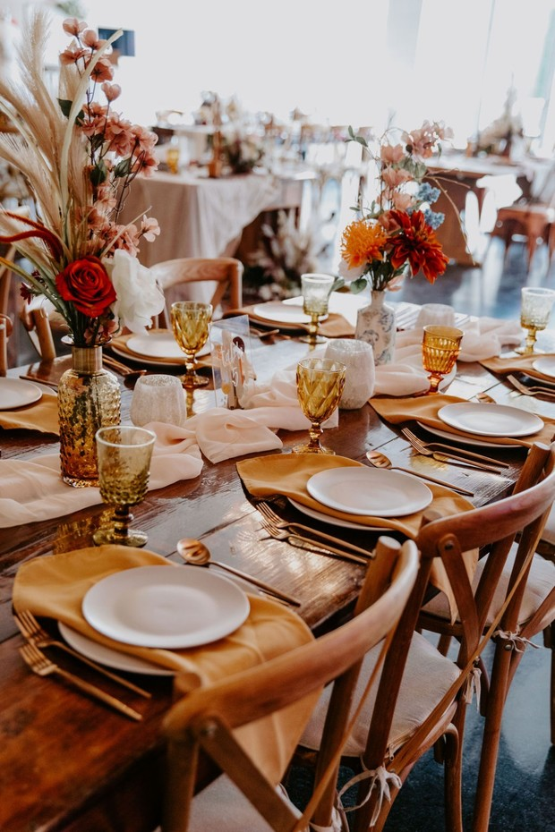gold and amber desert inspired wedding table