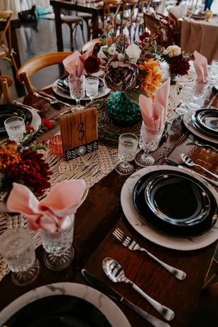 black and white desert inspired wedding table