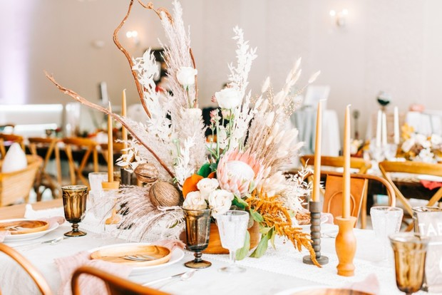 amber and white wedding table decor