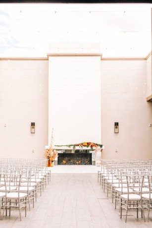 simple chic desert inspired wedding ceremony decor