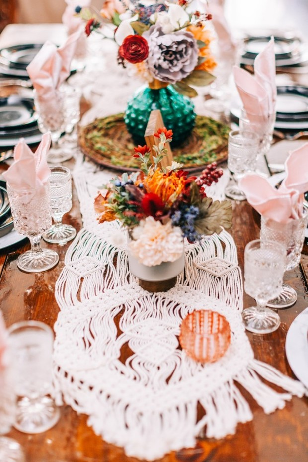 macrame wedding table runner