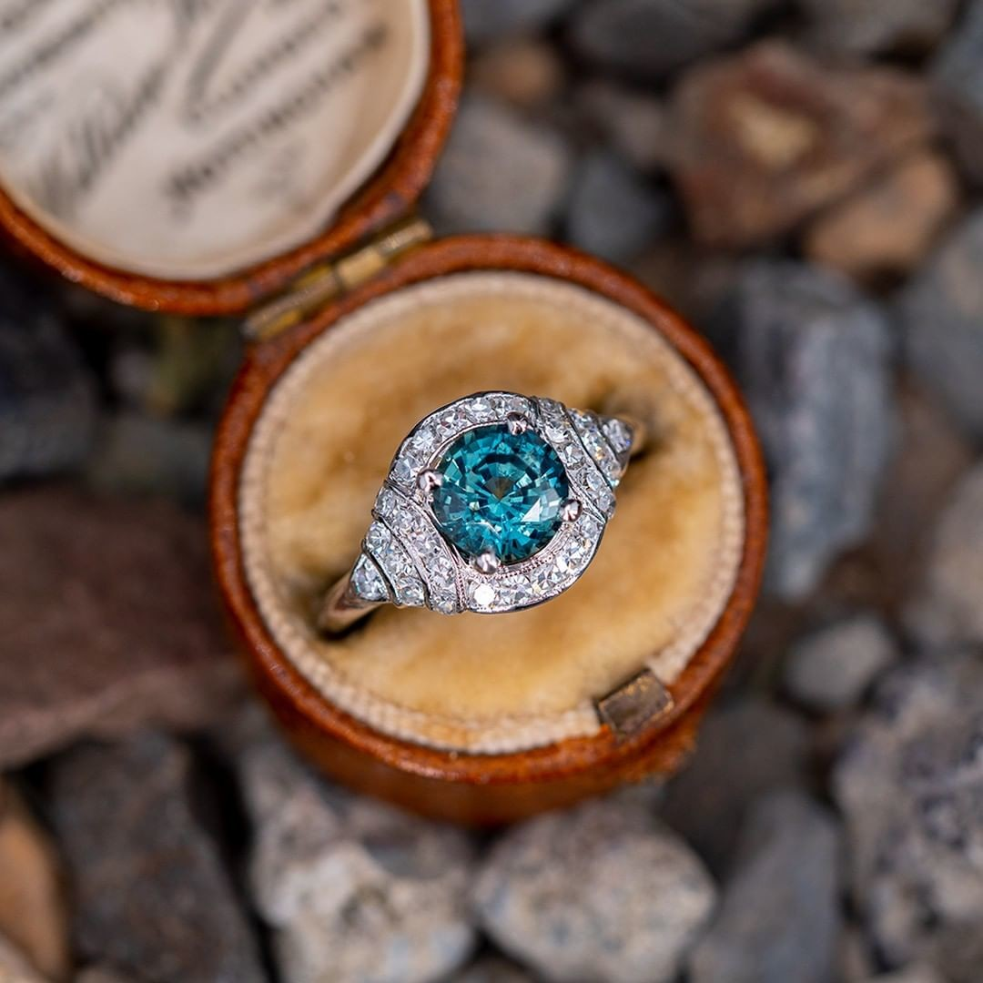 No Heat Teal Sapphire Engagement Ring w/ Diamonds