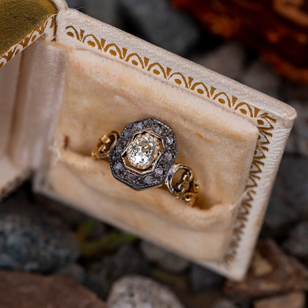 Victorian Engagement Ring Old Mine Cut Diamond .46ct M/SI2