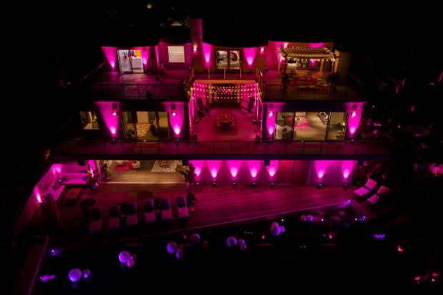Barbie Dreamhouse at night