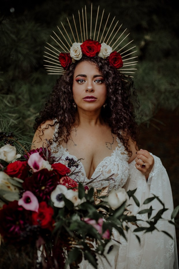 Fall bride with tarot card inspired headpiece