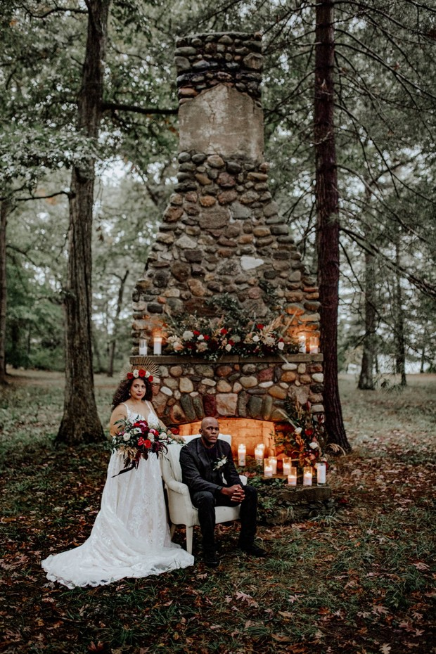 late fall and halloween inspired wedding photos