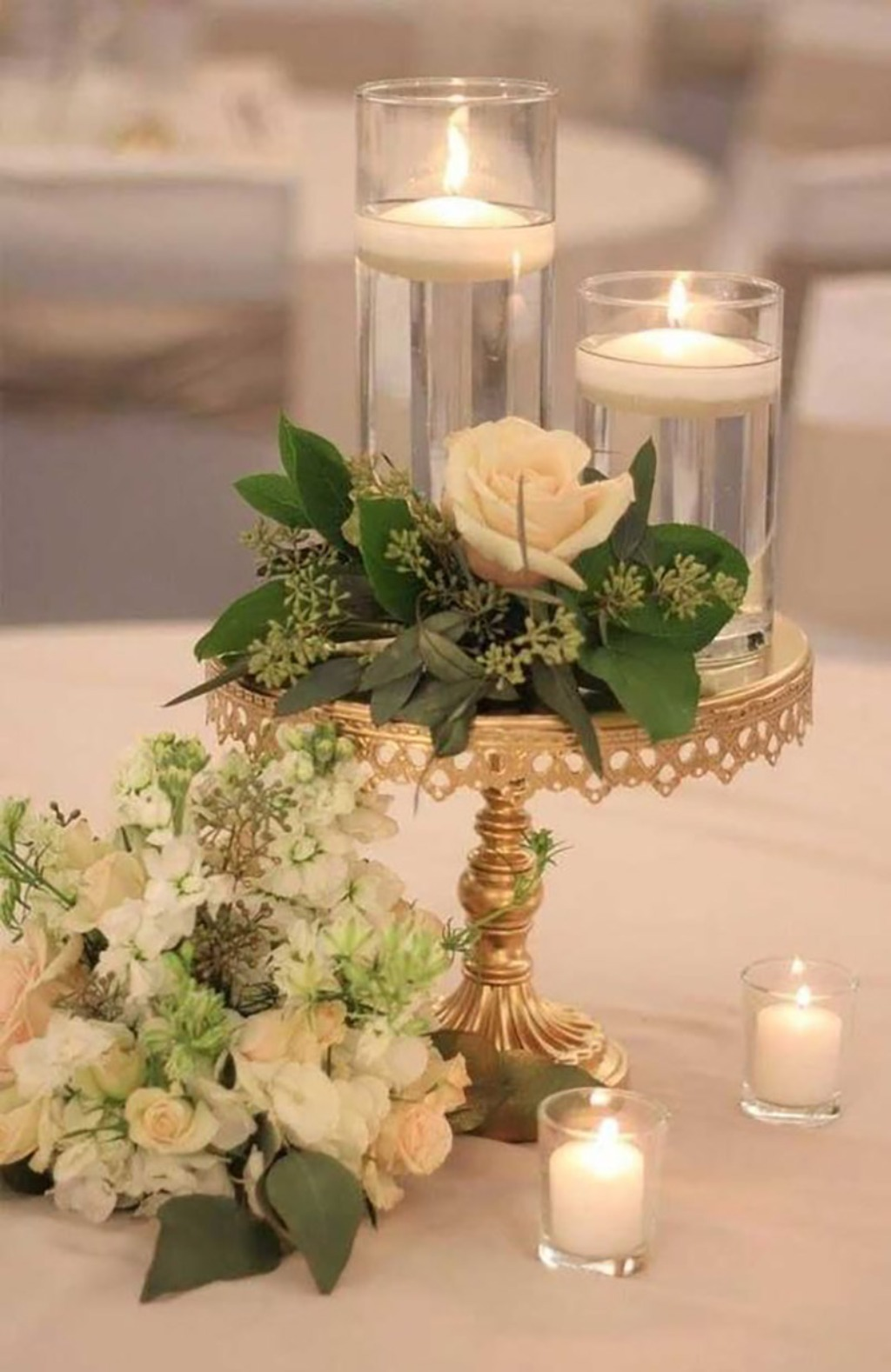 Pretty Gold and Florals! Opulent Treasures entertaining pieces are perfect for setting an elegant wedding tablescape.