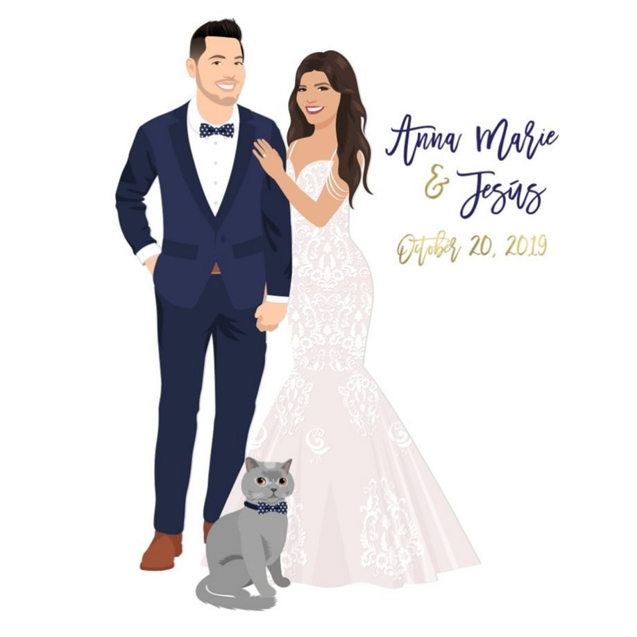 A navy suit, a fit and flare dress, and a dapper kitty make this custom design one for the books! These two JUST got married over the