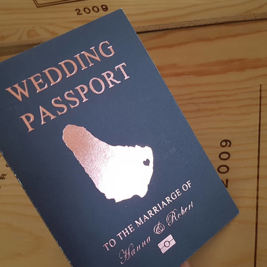 NEW design! passport wedding invitation printed in rose gold foil.
