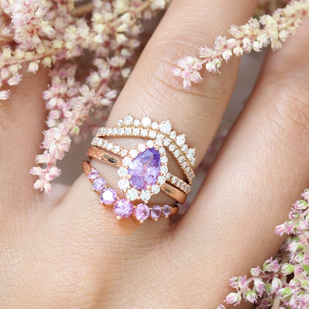 Elegant bridal set of a pear cut Lavender Purple Sapphire engagement ring in 14k rose gold Tiara Halo ring setting pairs gorgeously
