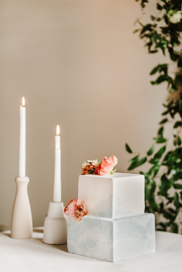 white and grey square wedding cake