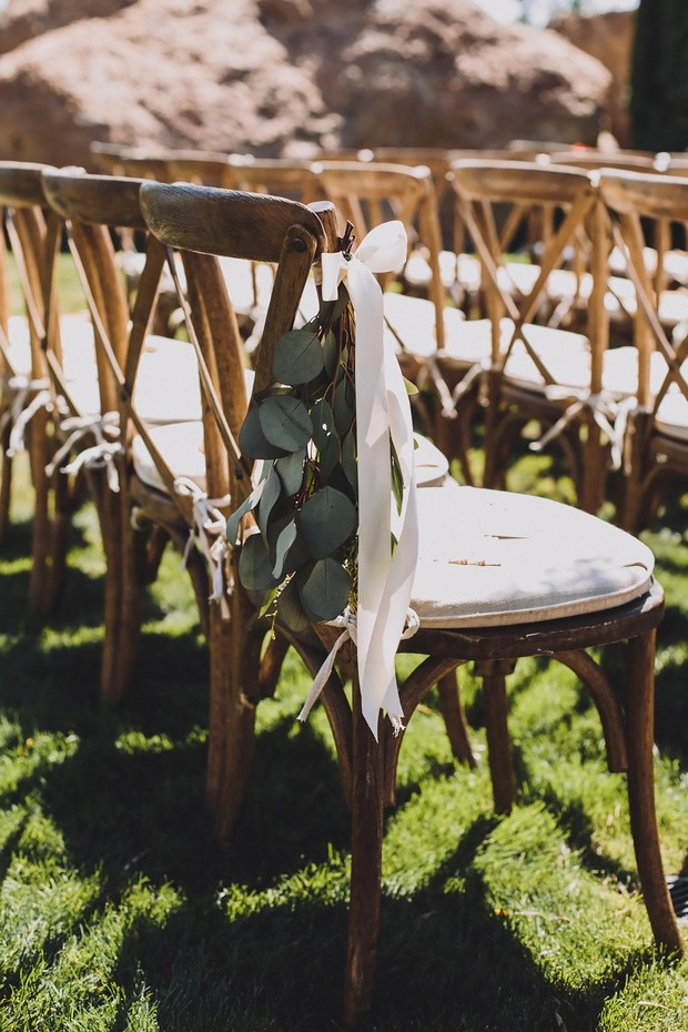 eucalyptus wedding aisle decor idea