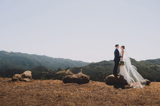 sweeping views and elegant wedding portrait