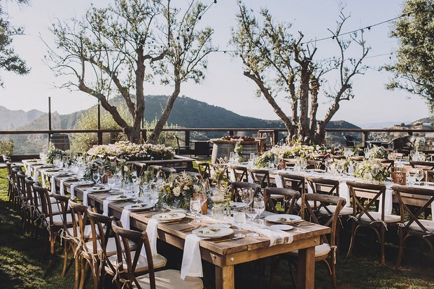 outdoor wedding reception in California