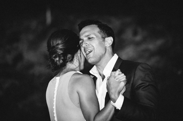 groom singing along to first dance song