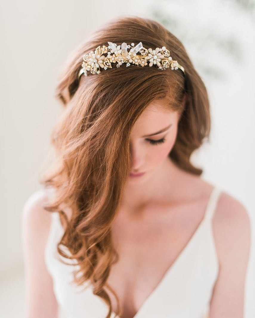 Our beautiful gold quartz tiara features raw crystal quartz, gold findings, pearls, beads and rhinestones. Photo by