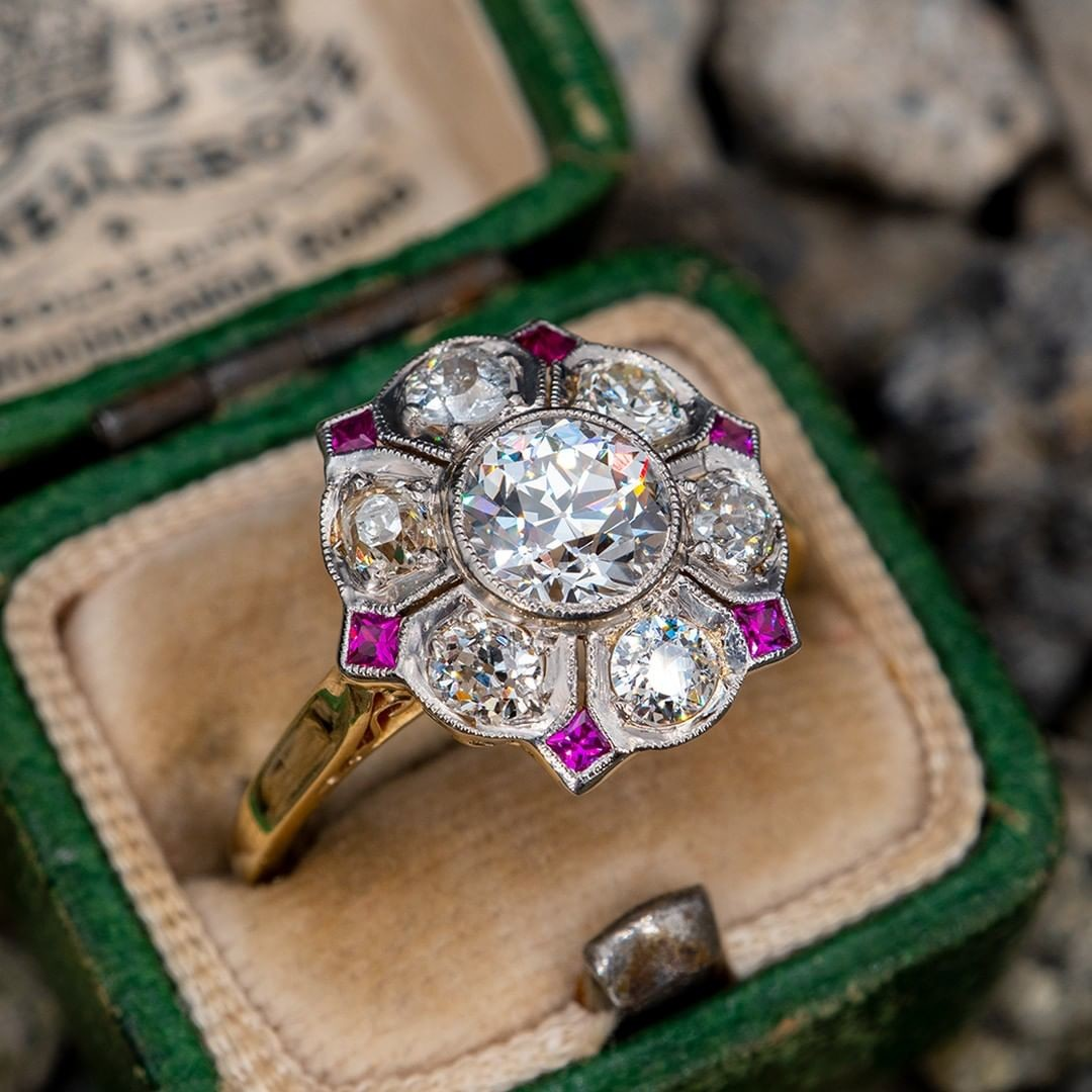 1920's Old European Cut Diamond Ring w/ Ruby Accents 14K & Platinum .90ct G/SI2 GIA