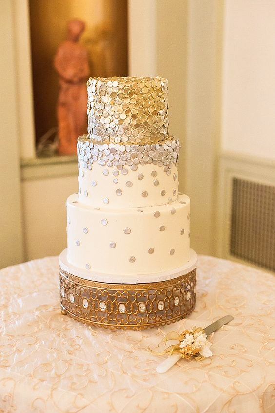 Gold and Silver Confetti Tiered Wedding Cake on Moroccan Jeweled Cake Stand created and sold by Opulent Treasures.