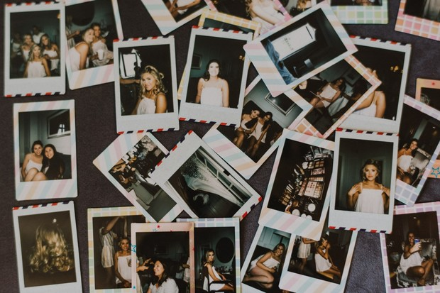 fun polaroids of getting wedding ready