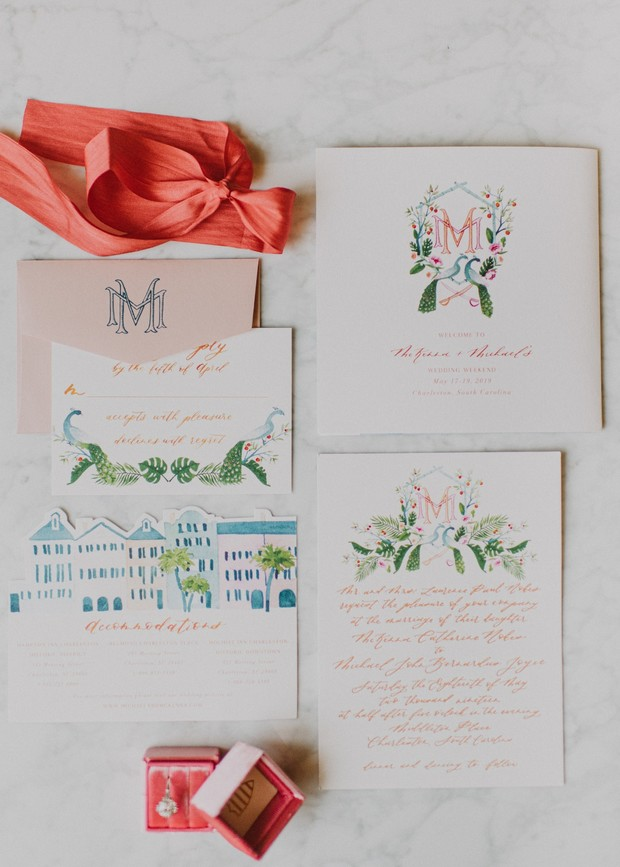 monogramed peacock wedding invitation suite