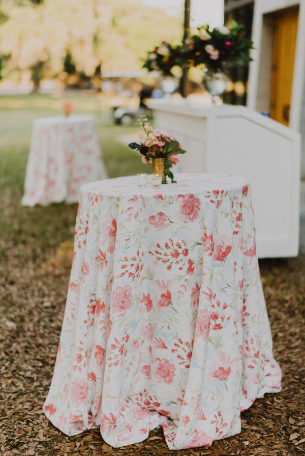 white and pink floral print cocktail table linens