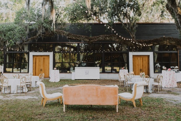 romantic blush and white outdoor wedding reception in South Carolina