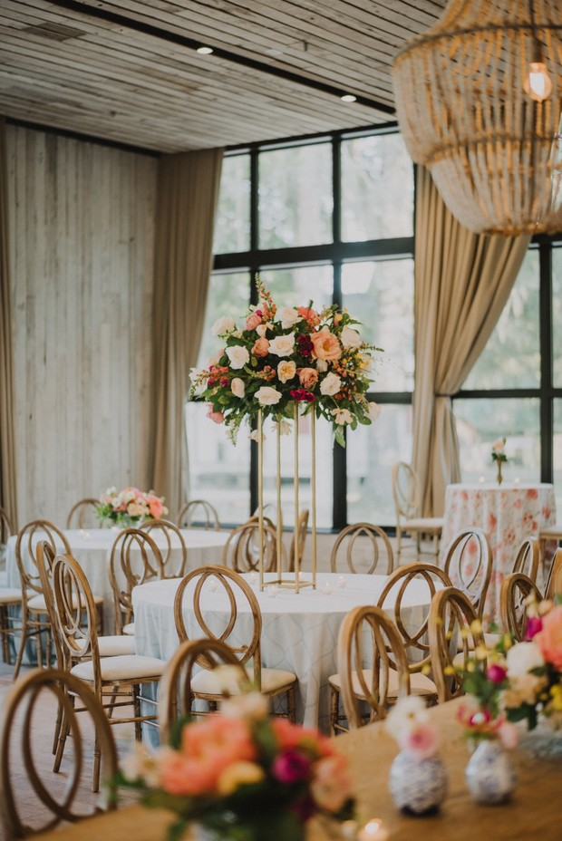 romantic pink and white wedding floral decor