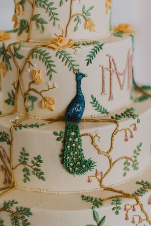 monogrammed peacock wedding cake