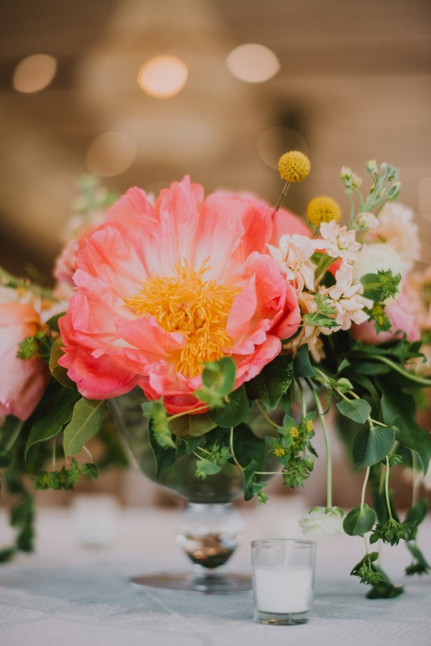 coral peony wedding flower centerpiece